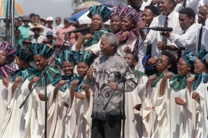 South African President Nelson Mandela j